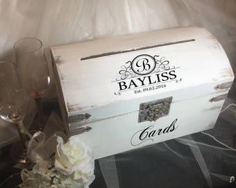 WEDDING CARD BOX, personalized card box, bride gift, wedding box, rustic wedding box, wedding decor, graduation card box, rustic box