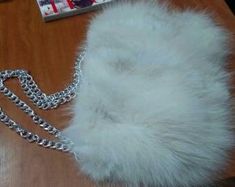 New!Natural,Real White Fox FUR BAG!!!