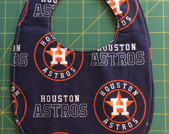 Baby Bib Houston Astros Inspired Print Fabric;  3 Sizes To Choose From!
