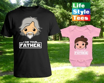 I am your Father Caucasian Cartoon, Luke Rey Skywalker, Matching Father Son Shirts,Christmas Gifts, Fathers Day Gift, Bodysuit CT-1218-1219
