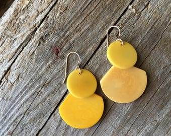 Sunflower Yellow Tagua Earrings