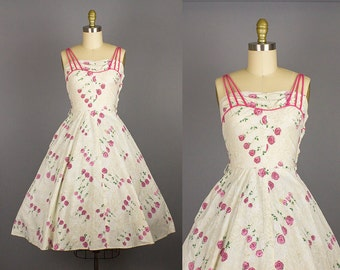 1950s cotton rose print dress/ 50s floral novelty sundress/spaghetti straps/ small