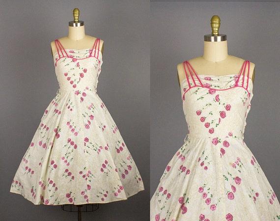 1950s cotton rose print dress/ 50s floral novelty sundress/spaghetti straps/ small