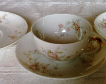 Antique Theodore Haviland Limoges France Cup and Three saucers With Pink Flowers And Gold Trim