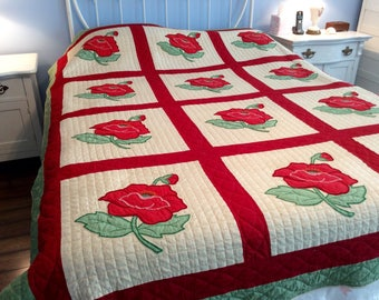 Reduced!  Vintage Hand Stiched Quilt Red Flowers  Grandma's Quilt Handmade