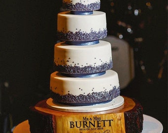 Personalised rustic wooden wedding cake base