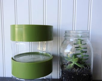 Vintage Pyrex Canisters - Set of 2 - Avocado Green