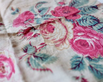 Antique mid 1800s picotage chintz fabric, pink green on cream, couture, sewing, upholstery doll clothing