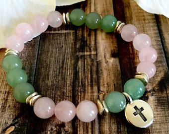 Rose Quartz Green Aventurine Silver Cross Charm Bracelet, Spiritual Jewelry, Healing Crystals, Cross Bracelets, Gift Ideas for Her
