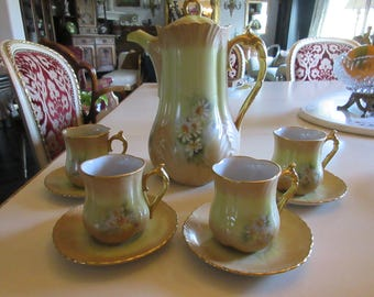 COFFEE or CHOCOLATE POT with Serving Cups and Saucers