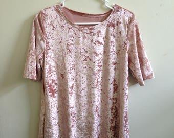 90's Girl Crushed Velvet T-shirt Dress