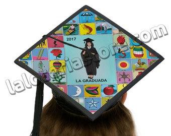 """La Graduada Loteria Graduation Cap Topper Card Stock Canvas  - Custom Grad Cap Decoration 9.5""""x9.5"""""""