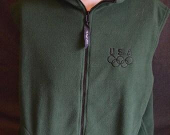 Vintage United States Olympics Team Green Vest (Size: XL)