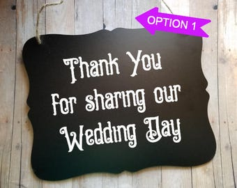 Thank You For Sharing Our Wedding Day Wedding Sign - Flower Girl Sign - Ring Bearer Sign - Ring Bearer - Wedding Decor - Photo Prop