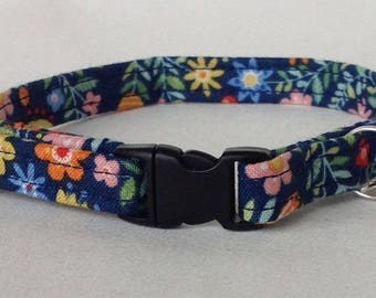 Handmade Floral Fabric Cotton Cat Collar, Safety Release Buckle, Bell, Charm