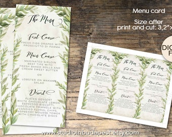 Wedding Menu, Wedding Menu Card Printable, Rustic Wedding Menu, Green Wedding Menu, PRINTABLE