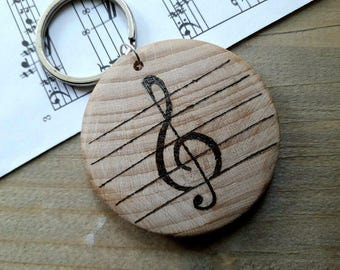 Music Keychain, Music Keyring, Guitarist Gift, Guitar Player Gift, Gift for Musician, Treble Clef Gift,Personalized Keychain, Musician Gift