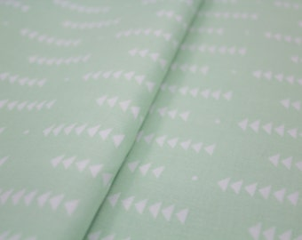 White Falling Arrows on Mint, Tribal Design, 100% Cotton, Quilting Fabric