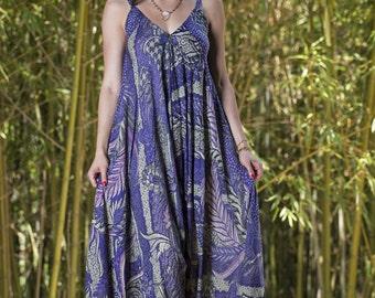 Wide Leg Womens Gypsy Long Jumpsuit Dress in Purple Batik,Summer Resort Beach Swimsuit Coverup,One piece Playsuit,Bali Sarong Fits S-XL
