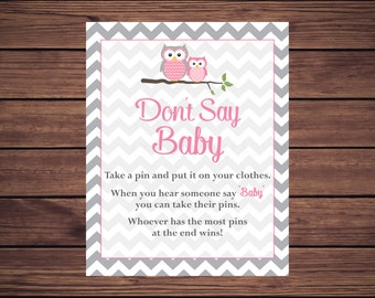 Pink Owl Don't Say Baby Baby Shower Game, Pink Dont Say Baby Game Instant Download PDF Printable