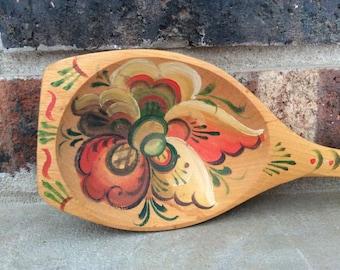 Vintage Hand Painted Norwegian Wood Spoon / Scandinavian Folk Art / Free Shipping