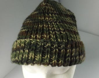 Handknit Mens Toque, Mens Hat, Teens Winter Hat, Ribbed Toque Hat, Camouflage Hat, Acrylic Worsted Yarn #122