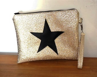 cover of night Rock glam gold leatherette glitter and Star Black