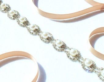 NEW- Bridal Sash Bridal Belt Bridesmaid Sash Belt Pearl Rhinestone Beaded Belt Wedding Dress Belt Pearl Bridal Belt Pearl Wedding Sash Belt