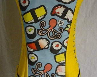 Corset, Ready Wear, Sushi fabric, Steel Boned Over Bust Corset, For Women, Octopus, Bust 30-34 Waist 26-30 Hips 30-36