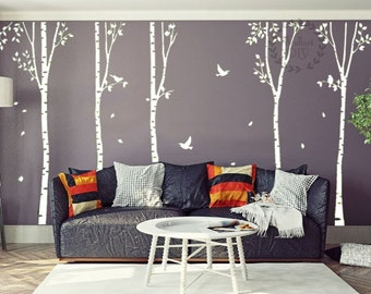 Tree wall decals Large tree wall murals White tree and birds wall stencil Giant tree wall sticker with birds Vinyl birch tree decals-23
