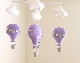 Lavender hot air balloon baby mobile, metallic gold and silver mobile, baby mobile, lavender mobile, nursery crib mobile, nursery decor