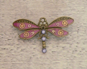 Purple Dragonfly Brooch, Dragonfly Pin, Steampunk Brooch, Steampunk Pin, Dragonfly Jewellery, Steampunk Jewellery, Dragonfly Jewelry
