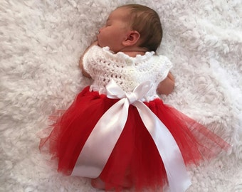 Valentines Dress White/Ivory w red baby dress.Crocheted bodice & tulle tutu skirt.Sizes Newborn,0-3 months,3-6 months,6-12 mos FREE SHIPPING