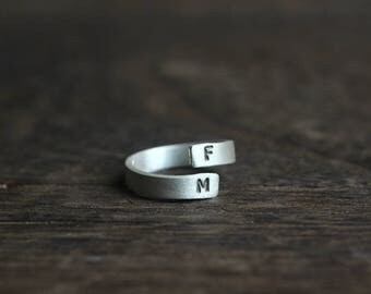 silver handstamped ring Personalized Ring-Custom Initial Ring