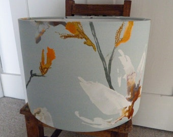 ONE OFF Exclusive Design 30cm Drum Lampshade in Gorgeous Minimal Floral Soft Sheen Fabric.