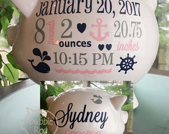 Nautical piggy bank etsy personalized piggy bank nautical baby girl piggy bank ocean theme baby gift baby negle Images