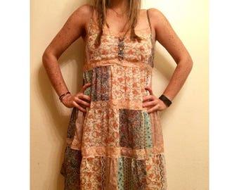 Vintage Bohemian Patchwork Lace Floral Paisley Dress M