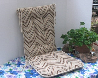 vintage chair cushions set of seat and back with tie strings reversible rocking chair cushions earth colors - Rocking Chair Cushion Sets