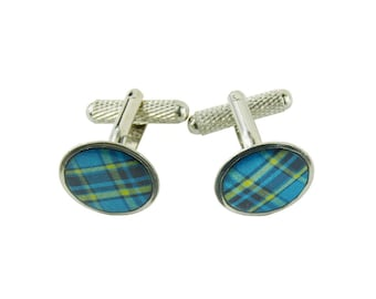 Blue cufflinks, sterling silver, groom cufflinks, wedding jewelry, madras, father's day gift, groom's father, handcrafted in Quebec