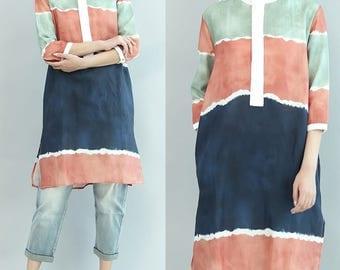 women linen shirt/women leisure blouses/women comfortable shirt/women long blouses/women linen clothing/QZ03T1522