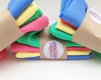 "Play Silks - Vibrant Set (21""x 21"") waldorf play silk - pastel , rainbow silk, play cloth, dress up play"