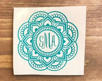 Mandala Monogram Decal, mandala decal, Vinyl Decal, Monogram car decal, Personalized decal, vinyl sticker, yeti decal, car decal, window