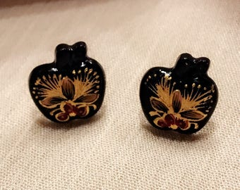 Hand-Painted Lacquer Small Stud Earrings