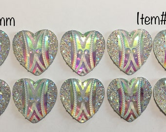 36mm AB Heart Gems - Sold by the pair