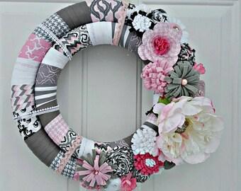 Shabby Chic Wreath, Wrapped Wreath, Peony Wreath, Felt Flower Wreath, Double Ring Wreath,  Double Wreath, Fabric Wreath,  Everyday Wreath
