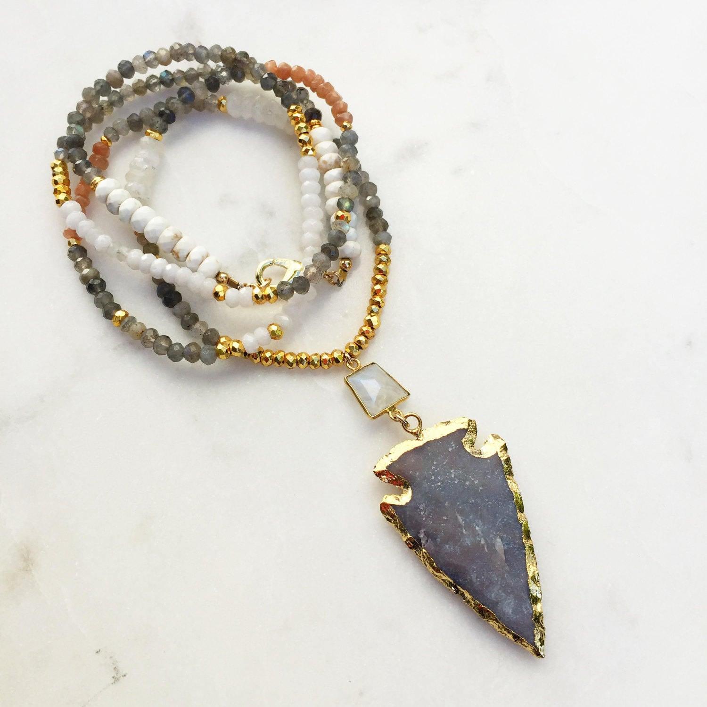 Beaded Arrowhead Necklace | Moonstone Beaded | Jasper Arrowhead