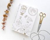 Athena Journal / Letterpress Gold Blank Notebook / Greek Mythology Journal / Hand Bound Coptic Book