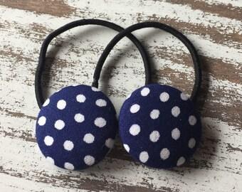 Navy Polka Dot Hair Elastic – 4th of July Hair Tie - America Ponytail Holder – Polka Dot Hair Clip – Retro Hair Clip – Polka Dot Barrette