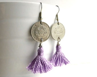 Romanian coin earrings, Coin jewelry, Tassel earrings, Gypsy earrings, Purple earrings, Lavender earrings, Gifts for her, Coins, 1966