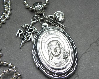 RN Nurses Patron St. Catherine Catholic Holy Medal Locket Necklace, Catholic Gift, Graduation, Registered Nurse Caduceus